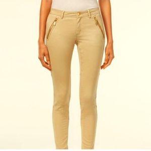 Michael Kors tan skinny pants with gold zipper 4